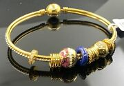 22k Bangle Bracelet Solid Gold Ladies Exotic Dangling Charms With Enamel Br5274