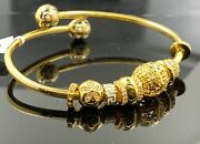 22k Bangle Bracelet Solid Gold Ladies Exotic Dangling Charms With Enamel Br5282