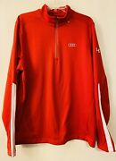 Under Armour X Audi Mens 1/4 Zip Pullover Sweater Size Large Red White