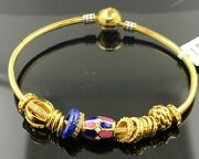 22k Bangle Bracelet Solid Gold Ladies Open Cuff Exotic Charms With Enamel Br5266