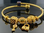 22k Bangle Bracelet Solid Gold Ladies Open Cuff Exotic Dangling Charms Br5270