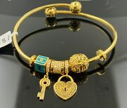 22k Bangle Bracelet Solid Gold Ladies Exotic Dangling Charms With Enamel Br5275