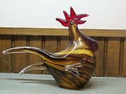 Vintage Hand Blown Glass Rooster 6.5 Hollow Red Brown Murano Style Art Figurine
