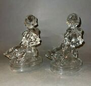 Pair Of Old Clear Glass Bookends By L.e. Smith After Hummel Goose Girl And 2 Geese