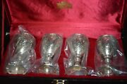 Vintage Corbell And Co Silver-plated Cordial Mini Goblets Set Of 4 In Hard Case