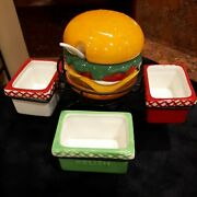Pier 1 Imports Earthenware Hamburger Thrill Of The Grill Condiment Spinner Set