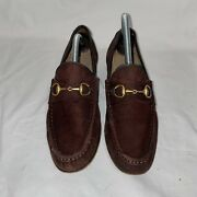 Vintage Brownsuede Gold Horse Bit Loafers Shoes Flats Womenandrsquos 8.5