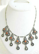 Bezalel Yemenite Filigree Silver Sterling 935 Bridal Necklace Set With Coral 38g