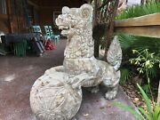 Fu Dog Statues Hand Crafted Out Of Wood 5 Feet Tall By More Or Les 6 Feet Length