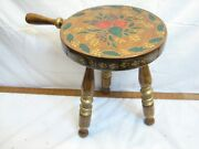 Vintage Signed Tole Painted Pa Dutch Wooden Foot Milking Stool Bench Rest Farm