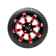Set Of 4 Gtw 12 Tempest Black/red Golf Cart Wheels On 215/35-12 18 Dot Tires