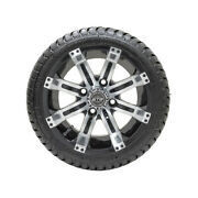 Set Of 4 Gtw 12 Tempest Black/machined Golf Cart Wheels And 215/35-12 18 Tires