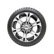 Set Of 4 Gtw 12 Specter Black/machined Golf Cart Wheels And 215/35-12 18 Tires