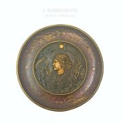 19th C. French Patinated Bronze Plate By F. Barbedienne