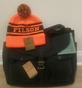 Filson Discontinued Game Bag Messenger 70077 And Acrylic Logo Beanie Nwt 325