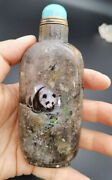 Chinese Natural Crystal Snuff Bottle Hand Painting Panda