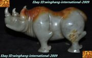 Old China Hetian Jade Carved Feng Shui Lucky Animal Cattle Ox Rhinoceros Statue