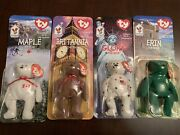 Mcdonalds Ty Beanie Babies Britannia Erin Glory And Maple Complete Collection.