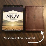 Personalized Nkjv Large Print Study Bible - 89.99 Retail - Brown Leathertouch