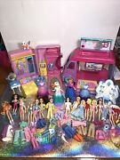Polly Pocket Lot Frozen Snap Together Dolls Furniture Wardrobe Clothes Shoes Rv