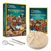 National Geographic Mega Fossil And Gemstone Dig Kits - Excavate 20 Fossils Gems