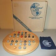 Vintage World Wide Games 30 Marbles Wood Board Made In Usa W/ Box + Pouch