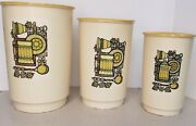 """Vintage Nesting Canister Set Of 3 Plastic With Yellow Lids 8"""", 9"""" And 10"""" Retro"""