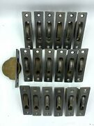 Antique Window Sash Rope Iron Pulleys With Square Corners 5 X 1-1/8 Lot Of 19