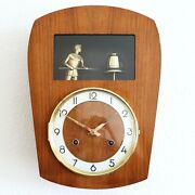 Odo Wall Animated Feature Top Clock Vintage Mid Century Chime High Gloss French