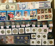 Junk Drawer Lot,silvercoins, Mixed Coins And Stamps,baseballcards.foreign Notes