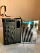 Vintage 1970 Sony 6 Transistor Am Solid State Radio 2r-31 Chrome With Case Works