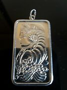 Vintage Pamp Suisse Lady Fortuna Bar Pendant Ingot 999 Silver One Troy Ounce