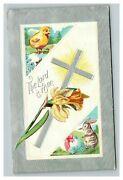 Vintage 1910's Winsch Back Easter Postcard Cute Chick Bunny Silver Cross Nice