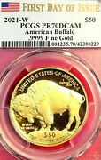 2021-w Proof Gold Buffalo Pcgs Pf-70 First Day Fd Flag Label With Ogp