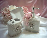 Shabby Victorian Chic White 3 Pc Bathroom Setlacerhinestonespink Accents