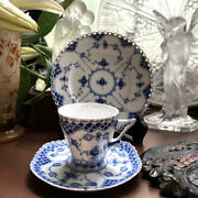 Royal Copenhagen Trio Tea Cup And Saucer And Plate Blue Fluted Lace