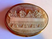 Large Vintage Fine Quality Last Supper Cameo Brooch In 9 Carat Gold