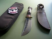 Jim Behring Treeman Knife Hm Woodcraft / Stag / Brass Hardware / Sheath And Case
