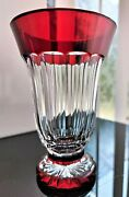 1pcs Waterford Crystal Simply Red Chalice Vase Handcut Lead Crystal,