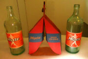 Ted Willaims 1950and039s Moxie Drinks 26 Ounce Bottles And Cardboard Carrying Case