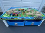 Thomas And Friends Wooden Railway Train Table 2 Storage Drawers Tracks 120+ Pieces