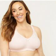 Catherines Serenada Cotton Comfort Bra No Wire With Lace Pink Plus Size 42b