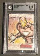 2015 Ud Marvel Avengers Age Of Ultron Iron Man 1/1 Sketch Card Beckett 8.5