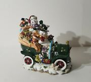 Snowman Couple With Christmas Gifts In Oldtime Buggy Car Porcelai Cookie Jar