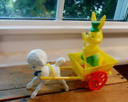Vintage Hard Plastic Easter Bunny Rabbit In Cart - With Box