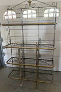 Large Antique Perfit Fils French Bakers Rack Cream Colored Wrought-iron And Brass
