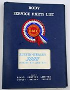 Austin-healey 3000 Service Parts List Body Series Bj7 And Bj8 Fine Condition