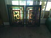 Vintage 1800andrsquos Rare Matched Set Large Style Stained Glass Windows Floral