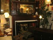 Antique Fireplace Mantel Surround Mirror 2 Pc 1800s Mahogany East Coast Delivery