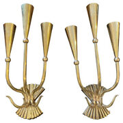 1950s Caesar Lacquer Set Of Two Mid-century Modern Brass Wall Sconces